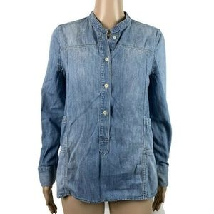 Madewell Henley Tunic Top  Downshift Chambray